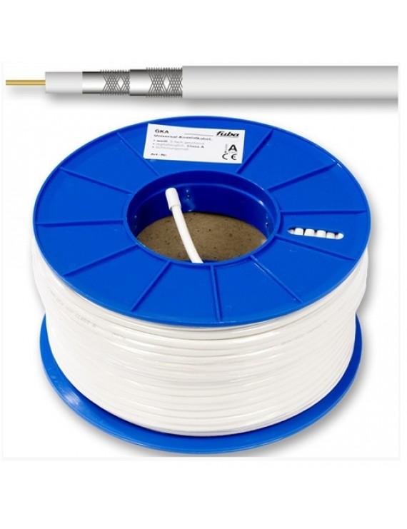 Kabel RG-6T (1,0/4,6) tr-skärmad,vit PVC,100m